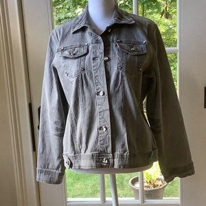 DG2 By Diane Gilman Gray Jean jacket with clear stones. Size small.